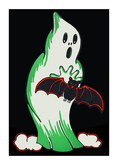 Halloween Ghost and Bat | Classic Halloween Greeting Cards This spooky ghost is a reproduction of a mid-century greeting card.