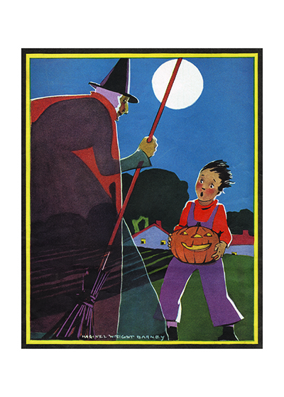 A Boy With A Jack O Lantern Meeting a Witch This boy encountering a witch as he carries a jack-o-lantern is from Maginel Wright Barney, a prolific children's illustrator and sister of Frank Lloyd Wright.  These prints are made at our location in Seattle, WA. They have a thick, white backing board and are sealed in clear bags. Each is suitable for framing at 11 inches x 14 inches or can be used as is for wall display. Our goal is to bring back to life these wonderful illustrations from old-fashioned, children's books and from early advertising art.