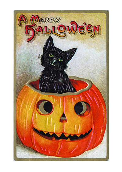 A Black Cat in a Jack-O-Lantern Two of the most iconic Halloween images are featured on this c. 1900 postcard - jack-o-lanterns and black cats.  INSIDE GREETING: Happy Halloween  OUTSIDE GREETING: A Merry Halloween