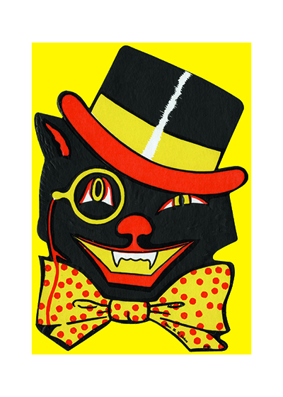 Black Cat Wearing a Bowtie This jaunty cat - complete with bow-tie - is a reproduction of a mid-century greeting card.  These prints are made at our location in Seattle, WA. They have a thick, white backing board and are sealed in clear bags. Each is suitable for framing at 11 inches x 14 inches or can be used as is for wall display. Our goal is to bring back to life these wonderful illustrations from old-fashioned, children's books and from early advertising art.