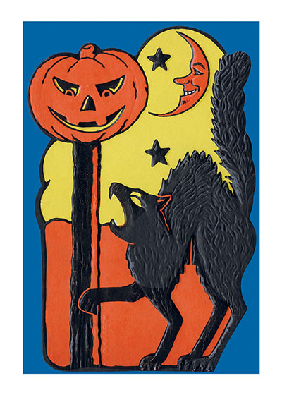 Halloween Fierce Cat (11 x 14) | Classic Halloween Art Prints These prints are made at our location in Seattle, WA. They have a thick, white backing board and are sealed in clear bags. Each is suitable for framing at 11 inches x 14 inches or can be used as is for wall display. Our goal is to bring back to life these wonderful illustrations from old-fashioned, children's books and from early advertising art.