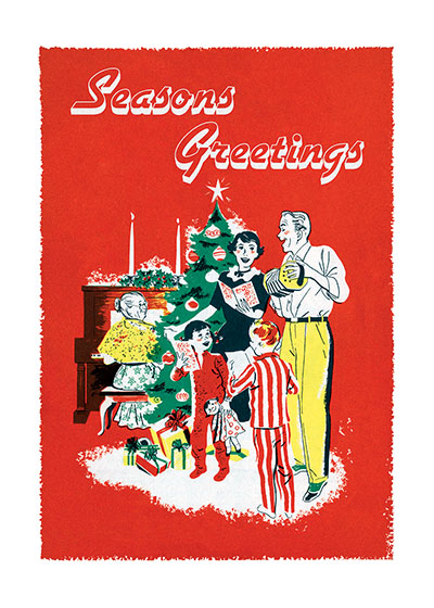 Fifties family Singing Carols around Christmas Tree  A perfect family gathers around the tree to sing and play the piano and accordion in this nostalgic mid-century Christmas card.  Our blank notecards are custom printed at our location in Seattle, WA. They come bagged with an envelope. We love illustration art from old children's books and early, printed ephemera. These cards reflect this interest in bringing delightful art back to life.  OUTSIDE GREETING: Season's Greetings