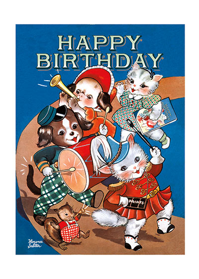 Adorable Animal Marching Band A Birthday Procession.  INSIDE GREETING: Strike up the band for a tip-top birthday!   Festive birthday greetings are conveyed by a musical troupe of sweet animals in this image from a 1940's coloring book.  Our notecards are custom printed at our location in Seattle, WA. They come bagged with an envelope. We love illustration art from old children's books and early, printed ephemera. These cards reflect this interest in bringing delightful art back to life.