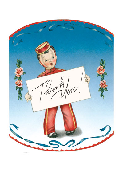 Bellboy Holding Placard | Thank You Greeting Cards This sweet and jaunty bell boy is a reproduction of a mid-century greeting card.