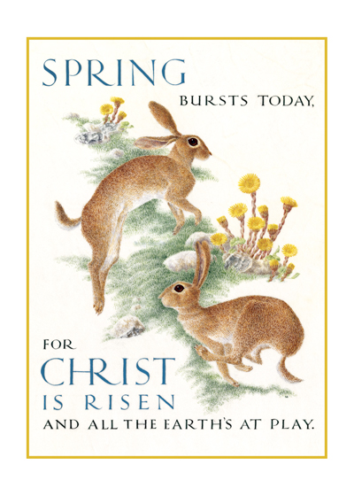Marie Angel Rabbits Spring bursts today, For Christ is risen and all the earth's at play.  Christina  Rossetti  British artist Marie Angel (1923 - 2010) possessed three gifts calligraphy, illumination and painting in miniature.  She gloriously combined them in many books.  This series of illuminated quotations was made for The Green Tiger Press in the 1980s.  These prints are made at our location in Seattle, WA. They have a thick, white backing board and are sealed in clear bags. Each is suitable for framing at 11 inches x 14 inches or can be used as is for wall display. Our goal is to bring back to life these wonderful illustrations from old-fashioned, children's books and from early advertising art.