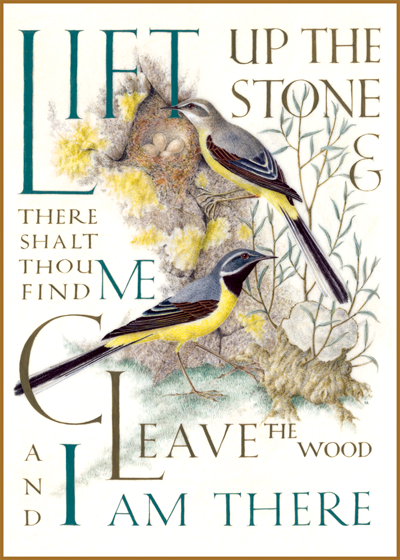 Marie Angel Birds Lift up the stone and there shalt thou find me: cleave the wood, and I am there.  From The Gospel of Thomas  British artist Marie Angel (1923 - 2010) possessed three gifts calligraphy, illumination and painting in miniature.  She gloriously combined them in many books.  This series of illuminated quotations was made for The Green Tiger Press in the 1980s.  These prints are made at our location in Seattle, WA. They have a thick, white backing board and are sealed in clear bags. Each is suitable for framing at 11 inches x 14 inches or can be used as is for wall display. Our goal is to bring back to life these wonderful illustrations from old-fashioned, children's books and from early advertising art.