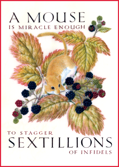 Marie Angel Mouse and Berries A mouse is miracle enough to stagger sextillions of infidels.    Walt Whitman  British artist Marie Angel (1923 - 2010) possessed three gifts calligraphy, illumination and painting in miniature.  She gloriously combined them in many books.  This series of illuminated quotations was made for The Green Tiger Press in the 1980s.  (BLANK INSIDE):  Our notecards are custom printed at our location in Seattle, WA. They come bagged with an envelope. We love illustration art from old children's books and early, printed ephemera. These cards reflect this interest in bringing delightful art back to life.