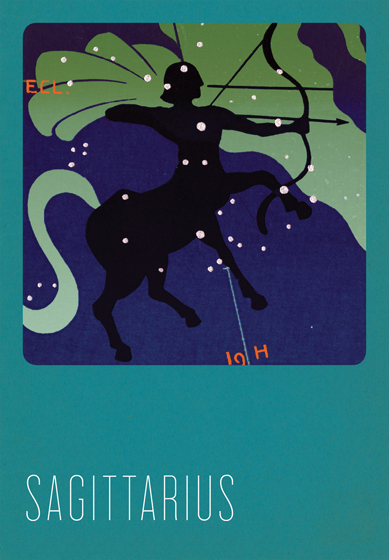 Sagittarius Silk Screened In the 1930s and 1940s an artist named Paul Dubosclard maintained a print shop in Topanga, California. There he created silkscreen images, which were usually in the form of sets of beautiful postcards.   One of Dubosclard's many interests was the Zodiac.  In this series of greeting cards  originally a limited edition set  the twelve signs are beautifully rendered in Dubosclard's signature palette of blues.  The sign of each character, e.g. Ariesram, Capricorngoat, is overlaid with its constellation,  in sparkling silver stars. The accompanying symbol, in contrasting red, adds yet another layer to these images. These cards were hand silk screened in Seattle, Washington.   These cards are blank inside, making them suitable for both birthdays and other occasions. On the reverse is a brief note about the astrological sign depicted.  The envelopes for these special cards are Pantone's Color of the Year for 2013 - Emerald!  (17-5641).