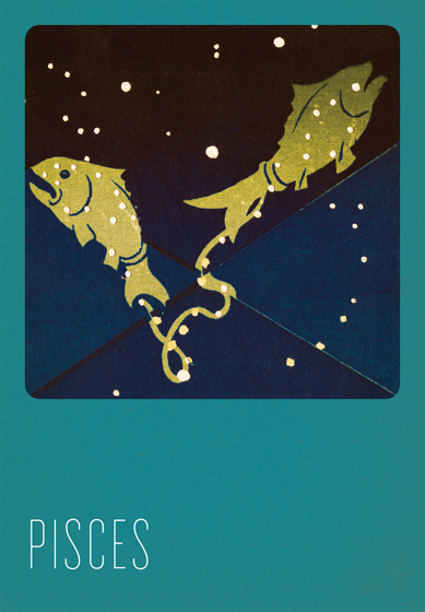 Pisces Silk Screened In the 1930s and 1940s an artist named Paul Dubosclard maintained a print shop in Topanga, California. There he created silkscreen images, which were usually in the form of sets of beautiful postcards.   One of Dubosclard's many interests was the Zodiac.  In this series of greeting cards  originally a limited edition set  the twelve signs are beautifully rendered in Dubosclard's signature palette of blues.  The sign of each character, e.g. Ariesram, Capricorngoat, is overlaid with its constellation,  in sparkling silver stars. The accompanying symbol, in contrasting red, adds yet another layer to these images. These cards were hand silk screened in Seattle, Washington.   These cards are blank inside, making them suitable for both birthdays and other occasions. On the reverse is a brief note about the astrological sign depicted.   The envelopes for these special cards are Pantone's Color of the Year for 2013 - Emerald!  (17-5641).