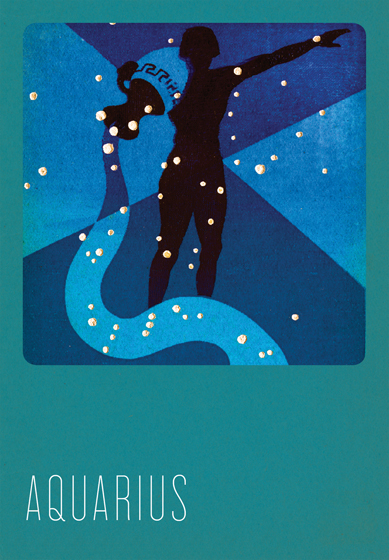 Aquarius Silk Screened Greeting Card | Zodiac Greeting Cards In the 1930s and 1940s an artist named Paul Dubosclard maintained a print shop in Topanga, California. There he created silkscreen images, which were usually in the form of sets of beautiful postcards.