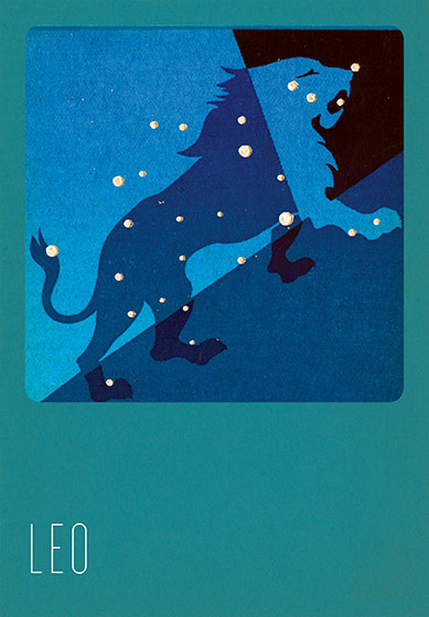 Leo Silk Screened Greeting Card | Zodiac Greeting Cards In the 1930s and 1940s an artist named Paul Dubosclard maintained a print shop in Topanga, California. There he created silkscreen images, which were usually in the form of sets of beautiful postcards.