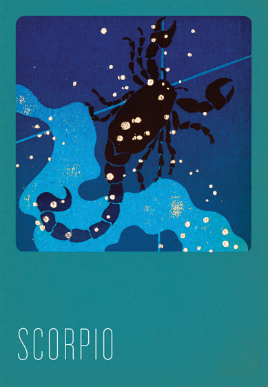 Scorpio Silk Screened In the 1930s and 1940s an artist named Paul Dubosclard maintained a print shop in Topanga, California. There he created silkscreen images, which were usually in the form of sets of beautiful postcards.   One of Dubosclard's many interests was the Zodiac.  In this series of greeting cards  originally a limited edition set  the twelve signs are beautifully rendered in Dubosclard's signature palette of blues.  The sign of each character, e.g. Ariesram, Capricorngoat, is overlaid with its constellation,  in sparkling silver stars. The accompanying symbol, in contrasting red, adds yet another layer to these images. These cards were hand silk screened in Seattle, Washington.   These cards are blank inside, making them suitable for both birthdays and other occasions. On the reverse is a brief note about the astrological sign depicted.   The envelopes for these special cards are Pantone's Color of the Year for 2013 - Emerald!  (17-5641).