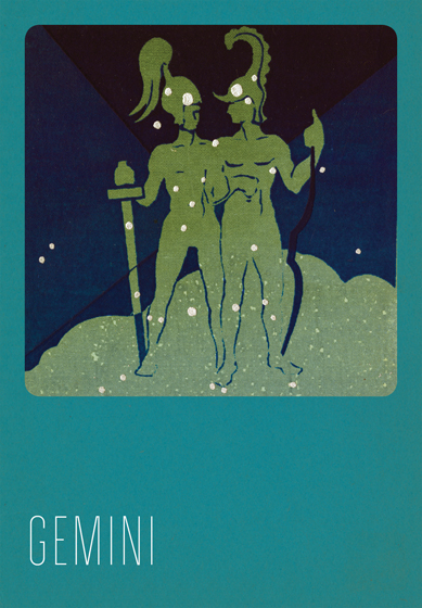 Gemini Silk Screened Greeting Card | Zodiac Greeting Cards In the 1930s and 1940s an artist named Paul Dubosclard maintained a print shop in Topanga, California. There he created silkscreen images, which were usually in the form of sets of beautiful postcards.