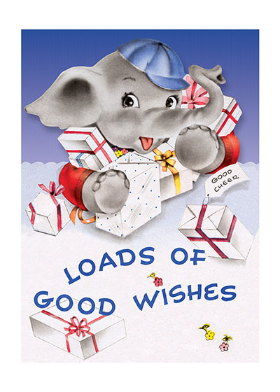 Baby Elephant With Gifts | Birthday Greeting Cards Outside Greeting: Loads of Good Wishes