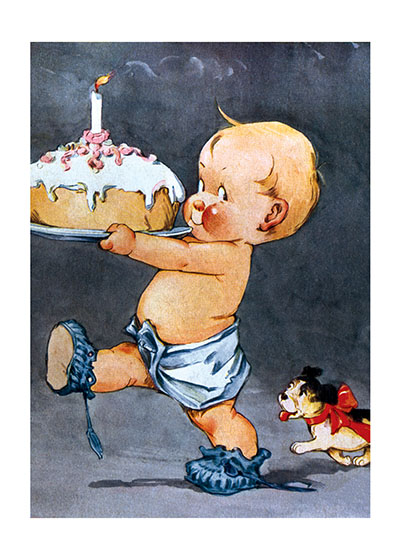Baby With #1 Cake These prints are made at our location in Seattle, WA. They have a thick, white backing board and are sealed in clear bags. Each is suitable for framing at 11 inches x 14 inches or can be used as is for wall display. Our goal is to bring back to life these wonderful illustrations from old-fashioned, children's books and from early advertising art.