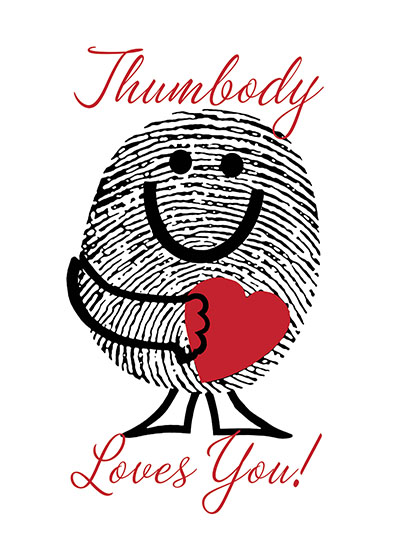 Thumbody Loves You | Friendship Greeting Cards Outside Greeting: Thumbody Loves You