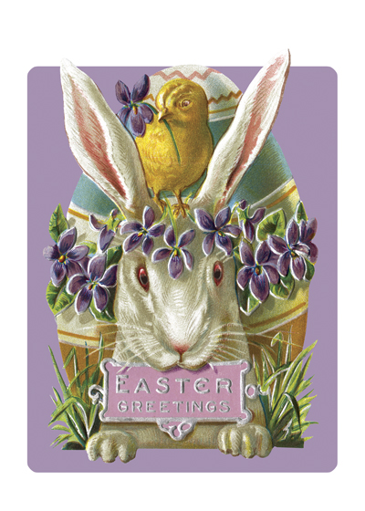 Easter Rabbit With Purple Flowers  Outside Greeting: EASTER GREETINGS  (BLANK INSIDE)  Our notecards are custom printed at our location in Seattle, WA. They come bagged with an envelope. We love illustration art from old children's books and early, printed ephemera. These cards reflect this interest in bringing delightful art back to life.