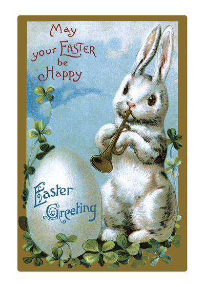 Easter Rabbit Playing Trumpet  Outside Greeting: May your EASTER be Happy  Easter Greeting  (BLANK INSIDE)  Our notecards are custom printed at our location in Seattle, WA. They come bagged with an envelope. We love illustration art from old children's books and early, printed ephemera. These cards reflect this interest in bringing delightful art back to life.