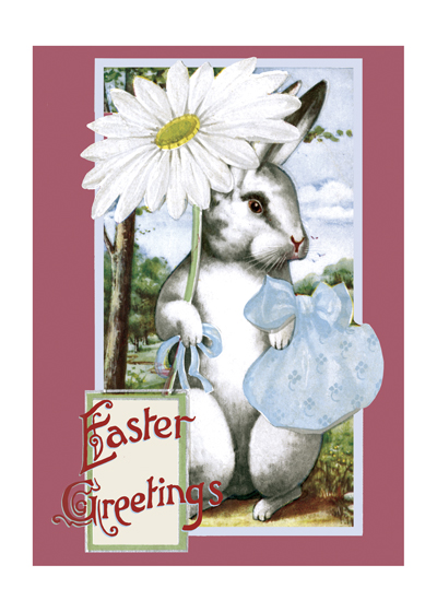 Easter Rabbit With Daisy  Outside Greeting: EASTER JOYS  (BLANK INSIDE)  Our notecards are custom printed at our location in Seattle, WA. They come bagged with an envelope. We love illustration art from old children's books and early, printed ephemera. These cards reflect this interest in bringing delightful art back to life.