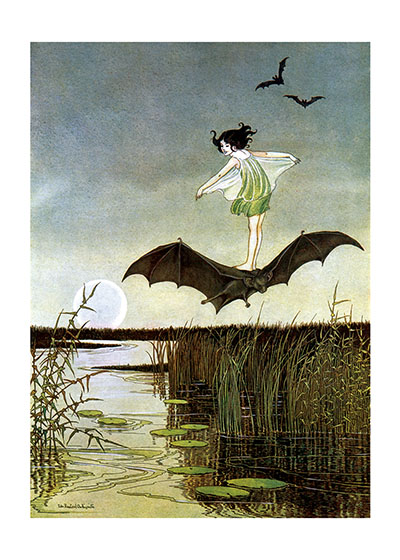 Little Witch Riding Bat  BLANK INSIDE)  Our greeting cards are custom printed at our location in Seattle, WA. They come bagged with an envelope. We love illustration art from old children's books and early, printed ephemera. These cards reflect this interest in bringing delightful art back to life.  Ida Rentoul Outhwaite (1888 - 1960) was an Australian illustrator of children's books. She was masterful at depicting fairies and the natural world. Her books include Elves and Fairies (1916),  The Enchanted Forest (1921)and Blossom: A Fairy Story (1928).