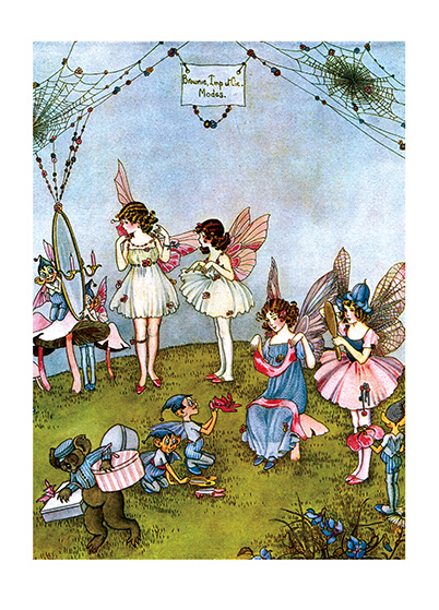 Fairy Dress Shop  BLANK INSIDE  Our greeting cards are custom printed at our location in Seattle, WA. They come bagged with an envelope. We love illustration art from old children's books and early, printed ephemera. These cards reflect this interest in bringing delightful art back to life.  Ida Rentoul Outhwaite (1888 - 1960) was an Australian illustrator of children's books. She was masterful at depicting fairies and the natural world. Her books include Elves and Fairies (1916),  The Enchanted Forest (1921)and Blossom: A Fairy Story (1928).