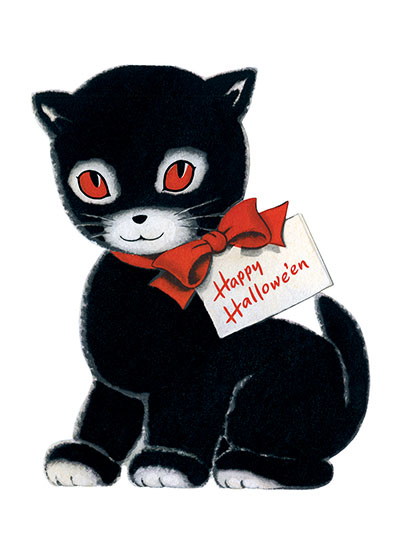 Happy Halloween Black Cat  INSIDE GREETING: Happy Hallowe'en  Our greeting cards are custom printed at our location in Seattle, WA. They come bagged with an envelope. We love illustration art from old children's books and early, printed ephemera. These cards reflect this interest in bringing delightful art back to life.