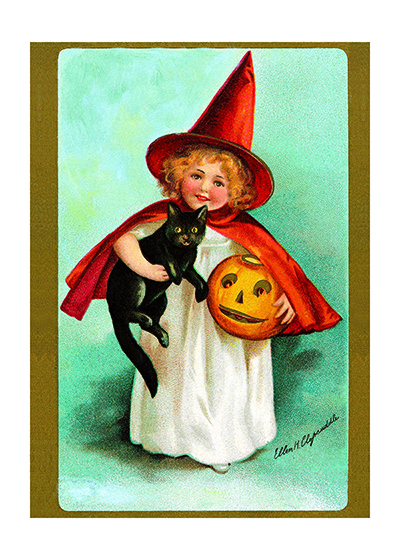 Little Witch | Classic Halloween Art Prints These prints are made at our location in Seattle, WA. They have a thick, white backing board and are sealed in clear bags. Each is suitable for framing at 11 inches x 14 inches or can be used as is for wall display. Our goal is to bring back to life these wonderful illustrations from old-fashioned, children'sbooks and from early advertising art.