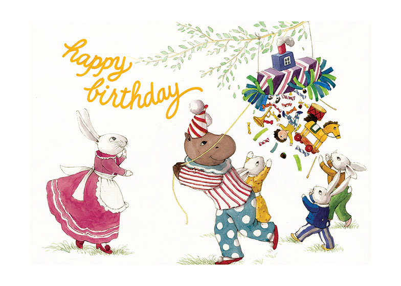 Animals With Pinata  OUTSIDE GREETING: Happy Birthday  INSIDE GREETING: May your birthday be full of happy surprises  Our greeting cards are custom printed at our location in Seattle, WA. They come bagged with an envelope. We love illustration art from old children's books and early, printed ephemera. These cards reflect this interest in bringing delightful art back to life.