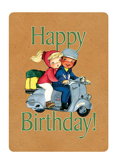 Boy and Girl on Scooter  OUTSIDE GREETING: Happy Birthday  INSIDE GREETING: How old would you be if you didn't know how old you are?  Satchel Paige  Our greeting cards are custom printed at our location in Seattle, WA. They come bagged with an envelope. We love illustration art from old children's books and early, printed ephemera. These cards reflect this interest in bringing delightful art back to life.