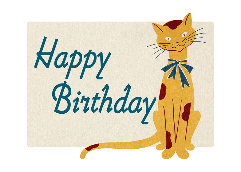 Smiling Cat   OUTSIDE GREETING: Happy Birthday  INSIDE GREETING:  Sincere Wishes for years and years of happiness.  Our greeting cards are custom printed at our location in Seattle, WA. They come bagged with an envelope. We love illustration art from old children's books and early, printed ephemera. These cards reflect this interest in bringing delightful art back to life.