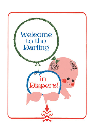 Crawling Baby With Balloon  OUTSIDE GREETING: Welcome to the darling in diapers  (Blank inside)  Our greeting cards are custom printed at our location in Seattle, WA. They come bagged with an envelope. We love illustration art from old children's books and early, printed ephemera. These cards reflect this interest in bringing delightful art back to life.