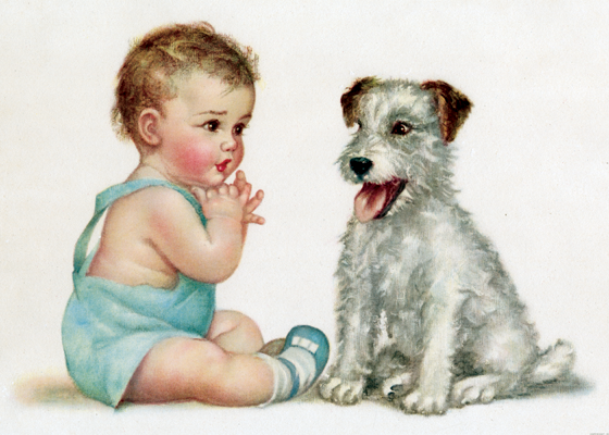 Dog and Baby These prints are made at our location in Seattle, WA. They have a thick, white backing board and are sealed in clear bags. Each is suitable for framing at 11 inches x 14 inches or can be used as is for wall display. Our goal is to bring back to life these wonderful illustrations from old-fashioned, children'sbooks and from early advertising art.