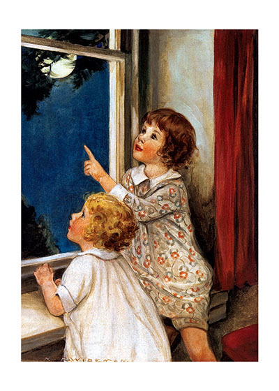Girls Looking at Moon | Encouragement Greeting Cards These  girls convey a sense of home and family as they look at a beautiful moon.