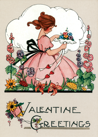 Little Girl With Lacy Bouquet | Classic Valentine's Day Greeting Cards OUTSIDE GREETING: Valentine Greetings