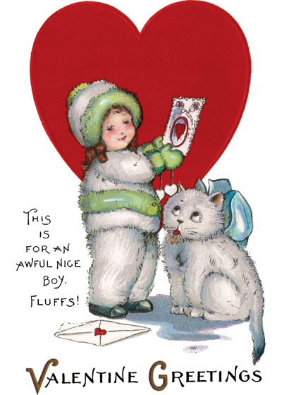 Girl in Snowsuit and Kitty | Classic Valentine's Day Greeting Cards OUTSIDE GREETING: Valentine Greetings