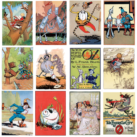 Oz Card Set This group of twelve blank notecards includes illustrations, each from a different Oz title.  Included are Frank Baum's first book in the series The Wonderful Wizard of OZ (1900) that was the  only one illustrated by W W.Denslow.  The remaining eleven cards are illustrated by John. R.Neill.  These include his initial work, The Marvelous Land of Oz (1904) and Baum's last Oz book, Glinda of Oz (1920).  Packet of 12  blank-inside greeting cards, with envelopes  $18