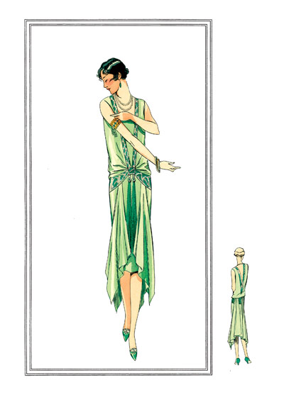 Nile green gown 1920s These prints are made at our location in Seattle, WA. They have a thick, white backing board and are sealed in clear bags. Each is suitable for framing at 11 inches x 14 inches or can be used as is for wall display. Our goal is to bring back to life these wonderful illustrations from old-fashioned, children'sbooks and from early advertising art.  This dress was a creation of 'Creation Beer,'  Place Vendome, Paris.  A gown in Nile green georgette embroidered with rhinestones and emeralds; an old-style belt goes around the back and under the falls.