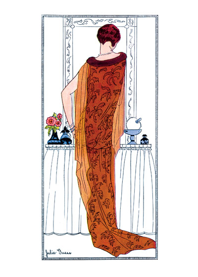 Tangerene Hostess Gown 1920s | 1920s Fashion Fashion Greeting Cards (Blank inside)