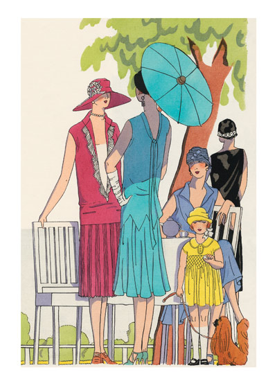 Fashionable Ladies and Girls of the 1920s These prints are made at our location in Seattle, WA. They have a thick, white backing board and are sealed in clear bags. Each is suitable for framing at 11 inches x 14 inches or can be used as is for wall display. Our goal is to bring back to life these wonderful illustrations from old-fashioned, children'sbooks and from early advertising art.  This illustration of elegant women, and a little girl, appeared in the June 1926 edition a very 'haute couture' publication entitled 'Art et Beaute' published in Paris and New York. The plates were colored by pochoir, many of them tipped-in.  (left) Dress of A.G. B. (presumably Art Go Beaute) Florissante crepe. (center)  Dress of A.G.B. Reversilla crepe. (right) Child's dress made of A.G.B. Mirands crepe de chine.