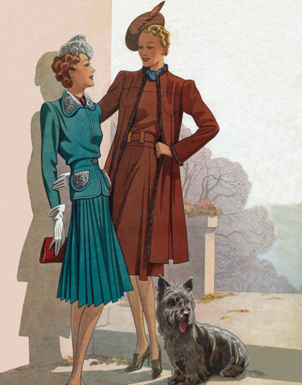 A Green Suit and a Brown Coat from 1940 TRIM AND TAILORED:  SUITS, COATS AND HATS OF THE 1940S  A 1940 green suit and red-brown coat  An ocean-green wool suit with pleated skirt and a red-brown coat and dress outfit, both pictured in the winter 1940 edition of Stella, a French fashion periodical.  These prints are made at our location in Seattle, WA. They have a thick, white backing board and are sealed in clear bags. Each is suitable for framing at 11 inches x 14 inches or can be used as is for wall display. Our goal is to bring back to life these wonderful illustrations from old-fashioned, children'sbooks and from early advertising art.
