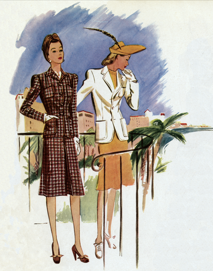 Resort Wear of the 1940s TRIM AND TAILORED:  SUITS, COATS AND HATS OF THE 1940S  A plaid suit and a white jacket for resort wear.  The checked suit shows the 1941 cut for southern suits and for spring suits.  Slim skirt, longish jacket and a new neckline, high, sharp, casualthe Lord Byron collar.   These prints are made at our location in Seattle, WA. They have a thick, white backing board and are sealed in clear bags. Each is suitable for framing at 11 inches x 14 inches or can be used as is for wall display. Our goal is to bring back to life these wonderful illustrations from old-fashioned, children'sbooks and from early advertising art.             College girls who have bought their extra jackets in men's shops t get the genuine masculine article, found they didn't fit.  This one will, and it looks just like his.