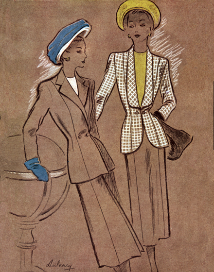 Two Earth-toned suits for spring, circa 1940 | 1940s Fashion Fashion Greeting Cards TRIM AND TAILORED:  SUITS, COATS AND HATS OF THE 1940S