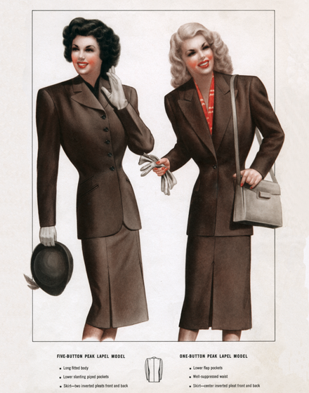 Modish Business Attire for Ladies of the 1940s TRIM AND TAILORED:  SUITS, COATS AND HATS OF THE 1940S  Two brown suits for travel or business.  On the left, a five-button peak lapel model with long fitted body and lower slanting piped pockets. Shirt with inverted pleats front and back. On the right, a one-button peak lapel model with lower flap pockets, well-suppressed waist  and skirt with inverted pleats front and back.  (Blank inside)  Our greeting cards are custom printed at our location in Seattle, WA. They come bagged with an envelope. We love illustration art from old children's books and early, printed ephemera. These cards reflect this interest in bringing delightful art back to life.