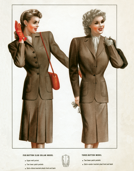 Travel Suits of the 1940s TRIM AND TAILORED:  SUITS, COATS AND HATS OF THE 1940S  Two business or travel suits from the 1940s  On the left, a five-button club collar model with upper welt pocket, two lower patch pockets and  skirt with three inverted pleats front and back. On the right, a three-button model with two lower patch pockets and a skirt with a center inverted pleat front and back.   These prints are made at our location in Seattle, WA. They have a thick, white backing board and are sealed in clear bags. Each is suitable for framing at 11 inches x 14 inches or can be used as is for wall display. Our goal is to bring back to life these wonderful illustrations from old-fashioned, children'sbooks and from early advertising art.
