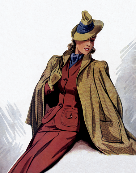 Outerwear of the 1940s in Fall Tones TRIM AND TAILORED:  SUITS, COATS AND HATS OF THE 1940S  A burnt- sienna suit and a gold herringbone cape.  This suit of reddish wool with patch pockets with flap and button detail and the elegant cape of gold-colored herringbone wool was pictured in the Viennese publication Record for 1941.  (Blank inside)  Our greeting cards are custom printed at our location in Seattle, WA. They come bagged with an envelope. We love illustration art from old children's books and early, printed ephemera. These cards reflect this interest in bringing delightful art back to life.