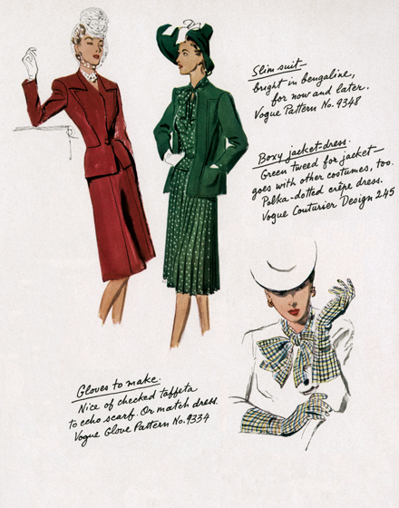 Suits and Dresses of the 1940s TRIM AND TAILORED:  SUITS, COATS AND HATS OF THE 1940S  Green and Red Suits and Accessories.  A slim suit, bright red in bengaline.  A boxy jacket-dress; green tweed for the jacket and polka-dotted crepe for the dress.  Gloves and scarf one could make from a purchased pattern.  (Blank inside)  Our greeting cards are custom printed at our location in Seattle, WA. They come bagged with an envelope. We love illustration art from old children's books and early, printed ephemera. These cards reflect this interest in bringing delightful art back to life.