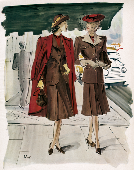 Suiting in Shades of Red and Brown TRIM AND TAILORED:  SUITS, COATS AND HATS OF THE 1940S  Tulip-reds, Earth-browns for Spring  Two brown suits, one more casual with boxy jacket and patch pockets, shown with a boxy red coat, and one more fitted with a dramatic contrasting double-peaked collar.  These prints are made at our location in Seattle, WA. They have a thick, white backing board and are sealed in clear bags. Each is suitable for framing at 11 inches x 14 inches or can be used as is for wall display. Our goal is to bring back to life these wonderful illustrations from old-fashioned, children'sbooks and from early advertising art.