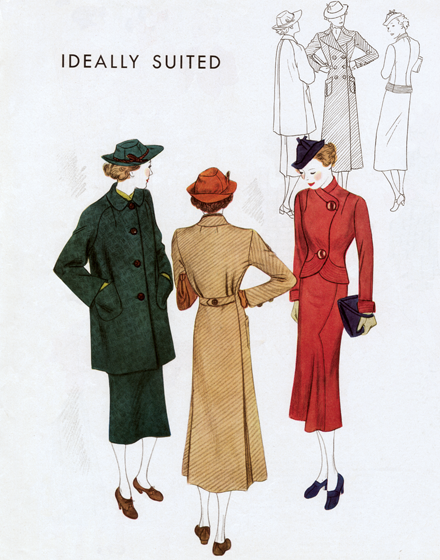 Forties Outerwear TRIM AND TAILORED:  SUITS, COATS AND HATS OF THE 1940S  Two coats and a suit from the mid-1940s  A loose green coat, straight at the front, makes one type of jacket for a Spring suit. A smart double-breasted reefer coat has a fitted waistline and two pleats in back. A corset-cut, fitted jacket of reddish wool with a slim skit flared in an unusual way.  (Blank inside)  Our greeting cards are custom printed at our location in Seattle, WA. They come bagged with an envelope. We love illustration art from old children's books and early, printed ephemera. These cards reflect this interest in bringing delightful art back to life.