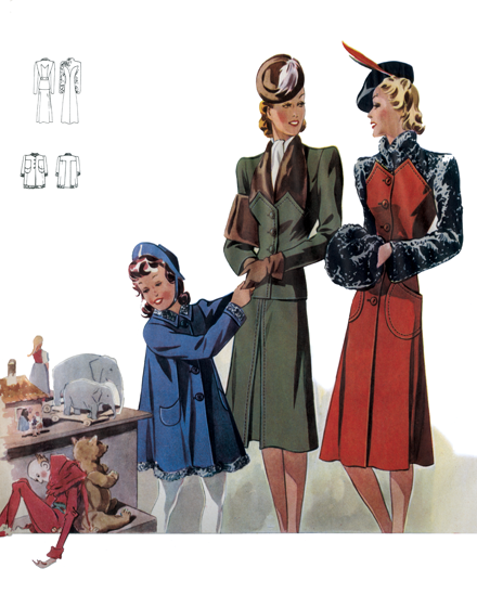 Forties Outerwear for Ladies and Girls TRIM AND TAILORED:  SUITS, COATS AND HATS OF THE 1940S  Fur-trimmed suit and two coats  A child's blue wool coat trimmed with astrakhan, a green wool suit trimmed with nutria fur, and a red wool fitted coat trimmed with astrakhan. All three were pictured in the Viennese fashion magazine, Record.  These prints are made at our location in Seattle, WA. They have a thick, white backing board and are sealed in clear bags. Each is suitable for framing at 11 inches x 14 inches or can be used as is for wall display. Our goal is to bring back to life these wonderful illustrations from old-fashioned, children'sbooks and from early advertising art.