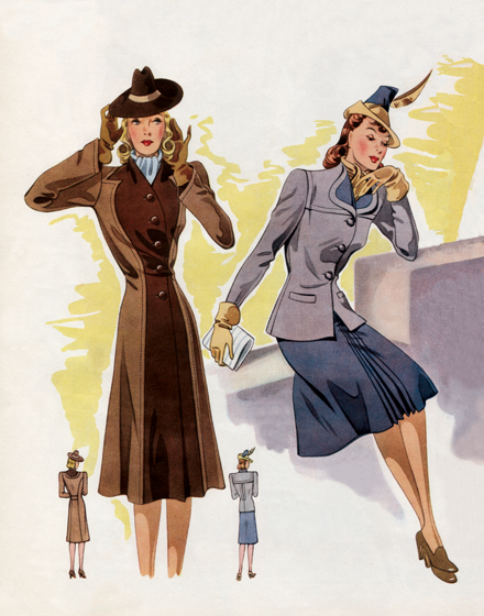 "Suiting in Lavender and Brown Tones | 1940s Fashion Fashion Art Prints ""TRIM AND TAILORED:  SUITS, COATS AND HATS OF THE 1940S"